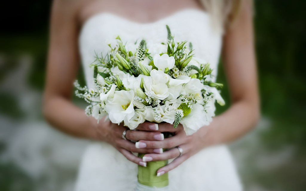 Elope in Upstate New York - Bride with Flowers